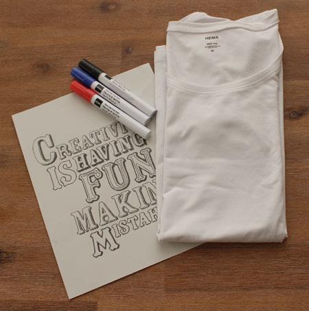 T Shirt benodigdheden