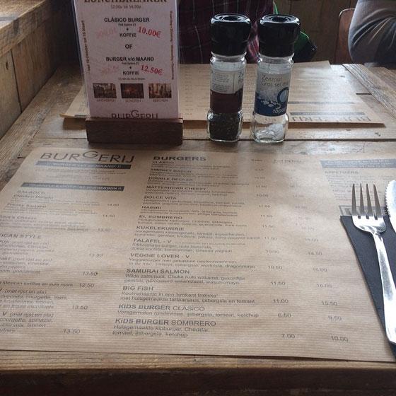 de burgerij menukaart