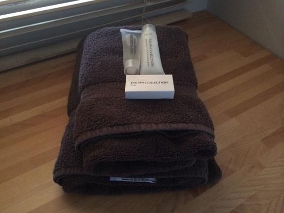 fijne handdoeken en douchespullen in de badkamer