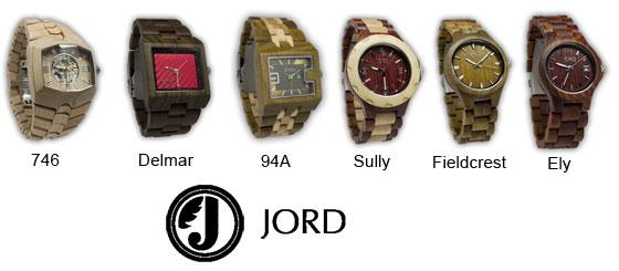 Hip: Houten Horloges JORD watches op een rij