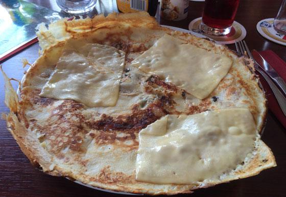pannenkoek kaas spek champignons
