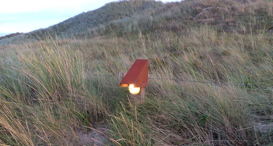 lampen aan in duinen