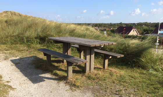 Picknickbank in de duinen