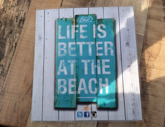 Life is better at the beach menukaart de Tav