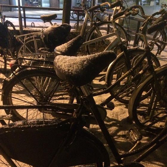 fietsen bedekt met sneeuw