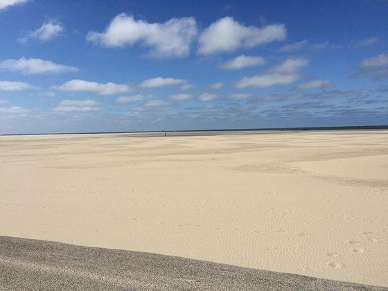 Strandwandeling De Koog & Vuurtoren De Cocksdorp breed strand leeg