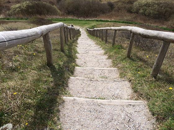 Wandeling De Muy op Texel halverwege trap