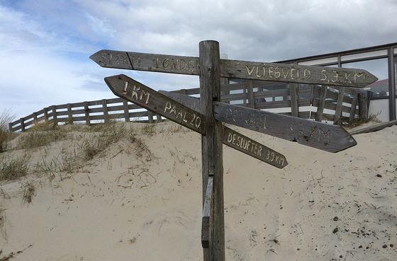 Wandeling De Muy op Texel wegwijzer paal 21